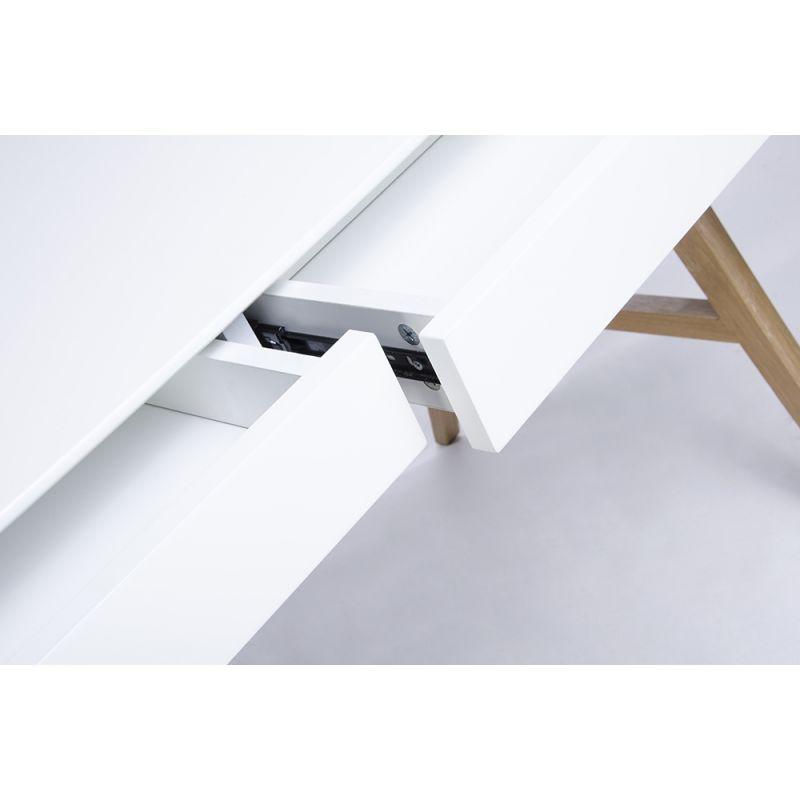 Biurko RIVA białe - MDF, nogi dębowe