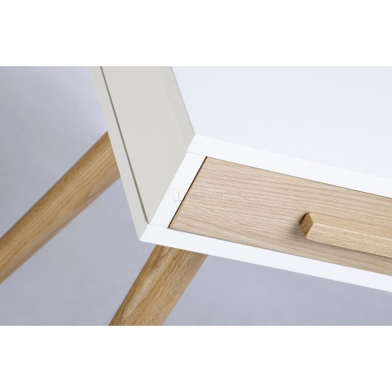 Biurko BERGEN dąb - biały blat, dębowe szuflady i nogi