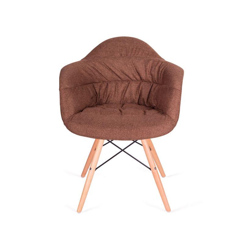 Fotel RUGO ARM brązowy - tkanina, podstawa bukowa